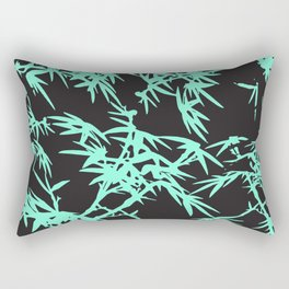 Modern black teal watercolor bamboo pattern  Rectangular Pillow