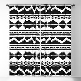 (N12) Moroccan Vintage Black and White Ethnic Artwork. Blackout Curtain