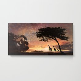 Purple Safari Sunset- giraffe family Metal Print