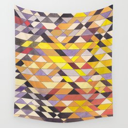 Triangle Pattern No.8 Black and Yellow Wall Tapestry