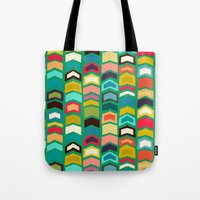 green arrow Tote Bags featuring arrow pop green by Sharon Turner