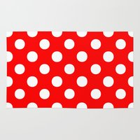 polka dots Area & Throw Rugs featuring Polka Dots (White/Red) by 10813 Apparel
