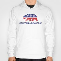 political Hoodies featuring California Political Democrat Bear Distressed by Democrat
