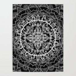 Detailed Black and White Mandala Pattern Poster