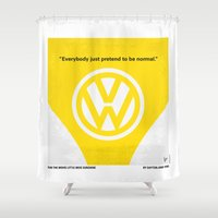 nietzsche Shower Curtains featuring No103 My Little Miss Sunshine movie poster by Chungkong