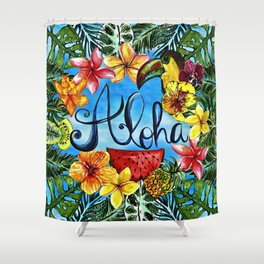 Aloha - Tropical Flower Food and Animal Summer Design Shower Curtain
