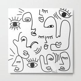 Abstract Faces Art Print  Metal Print