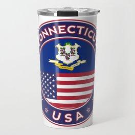 Connecticut, Connecticut t-shirt, Connecticut sticker, circle, Connecticut flag, white bg Travel Mug