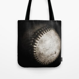 Battered Baseball in Black and White Tote Bag
