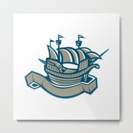 sailing ship galleon scroll Metal Print
