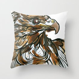 Red Tailed Tea Hawk Throw Pillow