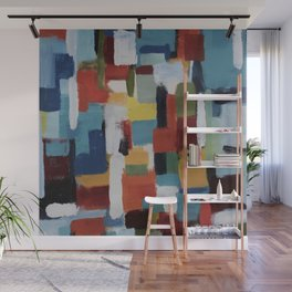 Abstraction in Blue Wall Mural