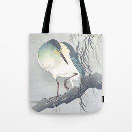 Blue Heron Sitting On A Willow Tree - Vintage Japanese Woodblock Print Art By Ohara Koson Tote Bag