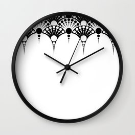 black and white art deco inspired fan pattern Wall Clock