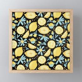 Lemon Pattern Black Framed Mini Art Print