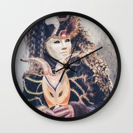 Double masks in Venice Carnival 2018 Wall Clock
