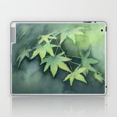 Japanese Maple Watercolor, Green Leaves, Tree Branch Laptop & iPad Skin