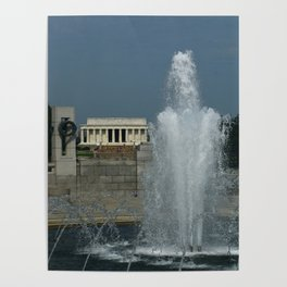 Memorial Fountain  And Lincoln Memorial Poster