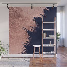 Navy blue abstract faux rose gold brushstrokes Wall Mural