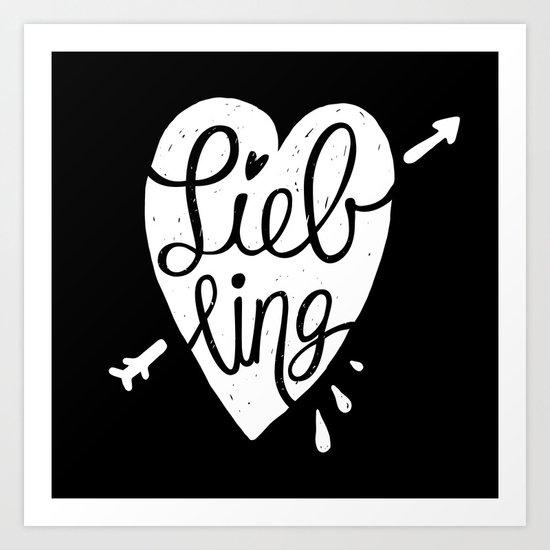 Liebling calligraphy - black Art Print