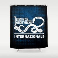 milan Shower Curtains featuring Theme Inter Milan by Maxvtis