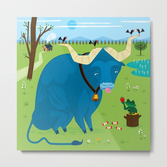 The Ox and The Frog Metal Print