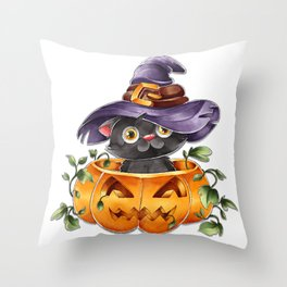 Cute Watercolor Halloween Black Cat with Witch Hat Throw Pillow