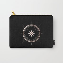 Rosegold Compass on Black II Carry-All Pouch
