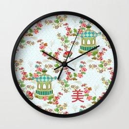 White Chinoiserie Wall Clock