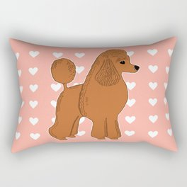 Red Apricot Poodle with Peach Pink & Hearts Rectangular Pillow