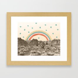 Canyon Desert Rainbow // Sierra Nevada Cactus Mountain Range Whimsical Painted Happy Stars Framed Art Print