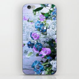 Flowers, Pink, Lilac, Teal iPhone Skin