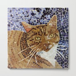 Tiger Cat - Stained Glass Mosaic Metal Print