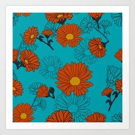 Aqua orange calendula Art Print