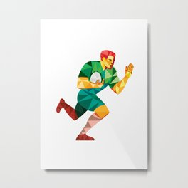 Rugby Player Fend Off Low Polygon Metal Print