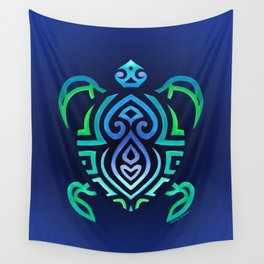 Tribal Turtle Ombre Background Wall Tapestry