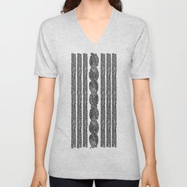 Cable Stripe Black Unisex V-Neck