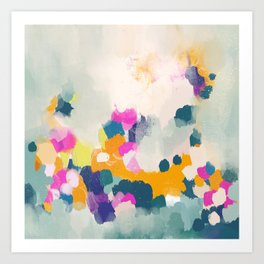 Misty morning -abstract pink, teal and orange Art Print