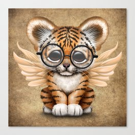 Tiger Cub with Fairy Wings Wearing Glasses Canvas Print