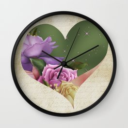 Heartfelt Love Letter & Roses Wall Clock