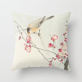 Songbirds on Blossom Branch Throw Pillow
