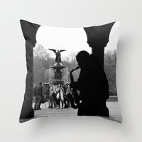 central park Throw Pillows featuring Central Park by Julian Clune