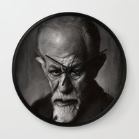 freud Wall Clocks featuring Sigmund Freud by Jason Seiler