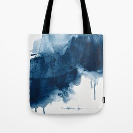 Where does the dance begin? A minimal abstract acrylic painting in blue and white by Alyssa Hamilton Tote Bag