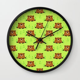 Adorable Groundhog Pattern Wall Clock