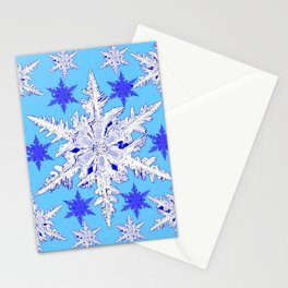 BABY BLUE SNOW CRYSTALS BLUE WINTER ART DESIGN Stationery Cards