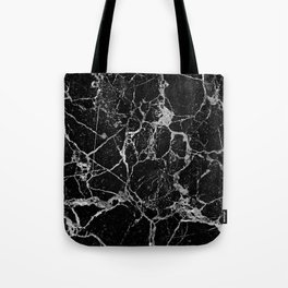 Black Marble with White Veining Tote Bag