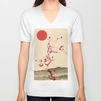 sakura V-neck T-shirts featuring Sakura by Ned & Ems