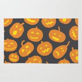 Gray and Orange Jack-O-Lantern Rug