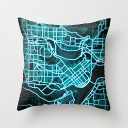 Burnaby, BC, Canada, Blue, White,Burnaby, BC, Canada, Blue, White, Neon, Glow, Neon, Glow, City, Map Throw Pillow
